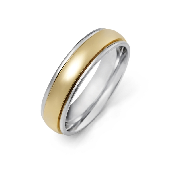 White Gold Mens Wedding Bands.14k White And Yellow Gold Wedding Band